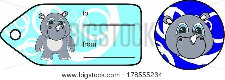 sweet little chubby rhino cartoon gift card in vector format very easy to edit