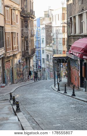 ISTANBUL TURKEY - JANUARY 11 2015 - Early Sunday morning in Istanbul. Shops are closed no people.