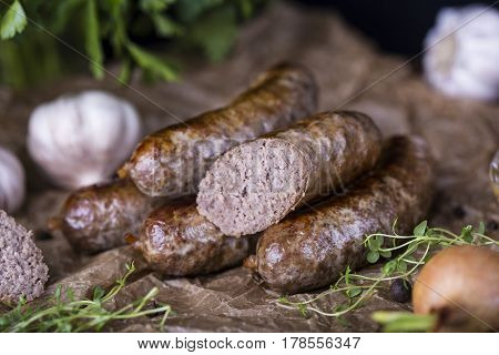 Homemade Sausage Of Beef And Venison
