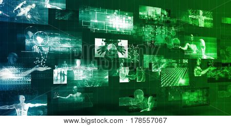 Technology Company Background with Digital Futuristic Abstract 3D Illustration Render