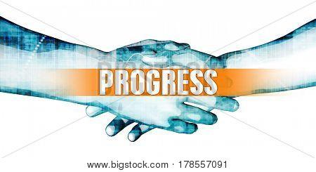 Progress Concept with Businessmen Handshake on White Background 3D Illustration Render