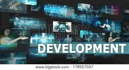 Development Presentation Background with Technology Abstract Art 3D Illustration Render
