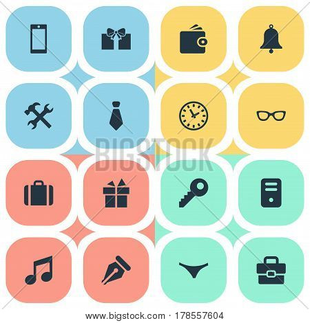 Vector Illustration Set Of Simple Accessories Icons. Elements Gift, Password, Cravat And Other Synonyms Key, Case And Grant.