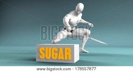 Cutting Sugar and Cut or Reduce Concept 3D Illustration Render