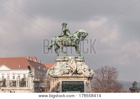 Equestrian statue of Prince Savoyai Eugen in front of the historic Royal Palace in Buda Castle. Budapest Hungary.