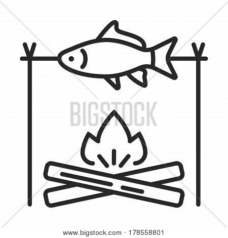 The Fish On The Fire Vector Icon
