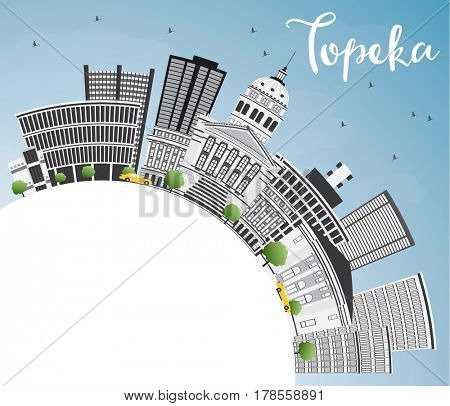 Topeka Skyline with Gray Buildings, Blue Sky and Copy Space. Business Travel and Tourism Concept with Modern Architecture. Image for Presentation Banner Placard and Web Site.
