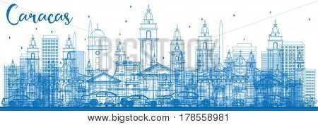 Outline Caracas Skyline with Blue Buildings. Business Travel and Tourism Concept with Historic Buildings. Image for Presentation Banner Placard and Web Site.