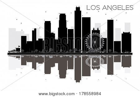 Los Angeles City skyline black and white silhouette with reflection. Simple flat concept for tourism presentation, banner, placard or web site. Cityscape with landmarks.