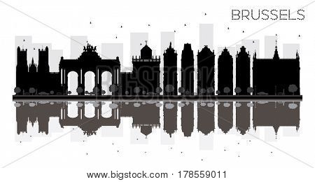 Brussels City skyline black and white silhouette with reflections. Simple flat concept for tourism presentation, banner, placard or web site. Cityscape with landmarks.