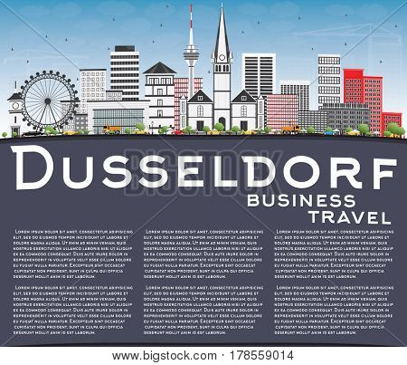 Dusseldorf Skyline with Gray Buildings, Blue Sky and Copy Space. Business Travel and Tourism Concept with Historic Architecture. Image for Presentation Banner Placard and Web Site.