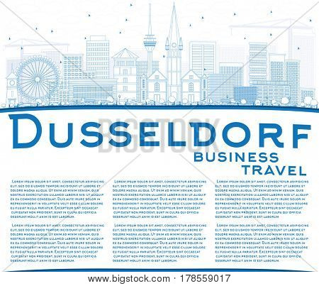 Outline Dusseldorf Skyline with Blue Buildings and Copy Space. Business Travel and Tourism Concept with Historic Architecture. Image for Presentation Banner Placard and Web Site.