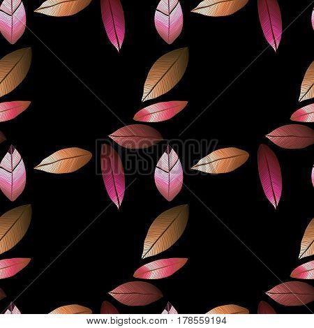 Vector seamless pattern with tribal leaf. Tribal forest pattern. Nature backdrop, repeated background. Winter dark background. Foliage