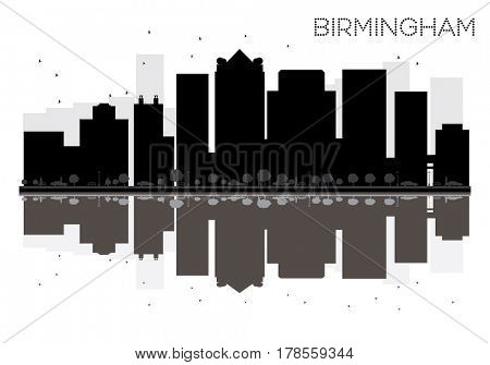 Birmingham City skyline black and white silhouette with reflections. Simple flat concept for tourism presentation, banner, placard or web site. Cityscape with landmarks