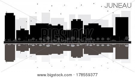 Juneau City skyline black and white silhouette with reflections. Simple flat concept for tourism presentation, banner, placard or web site. Cityscape with famous landmarks.