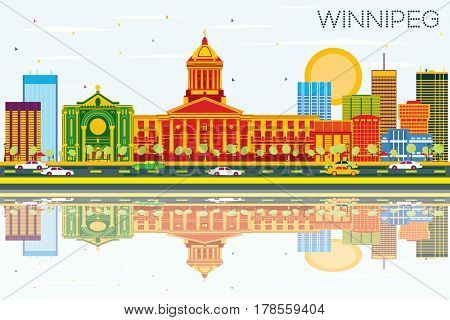 Winnipeg Skyline with Color Buildings, Blue Sky and Reflections. Business Travel and Tourism Concept with Modern Architecture. Image for Presentation Banner Placard and Web Site.