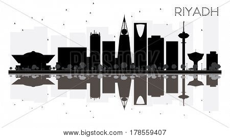 Riyadh City skyline black and white silhouette with reflections. Simple flat concept for tourism presentation, banner, placard or web site. Cityscape with landmarks