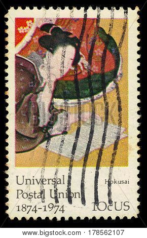 FiUNITED STATES OF AMERICA - CIRCA 1974: A stamp printed in USA shows painting