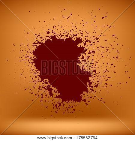 Grunge Red Blood Blob on Orange Wall