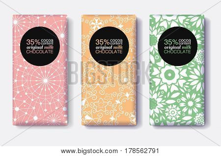 Vector Set Of Chocolate Bar Package Designs With Modern Black and Pastel Colors Geometric Patterns. Editable Packaging Template Collection. Surface pattern and package design.