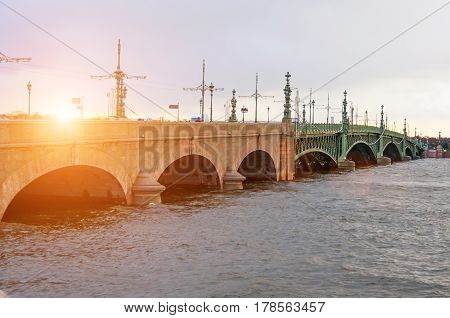 Trinity bridge sunset river neva St. Petersburg.