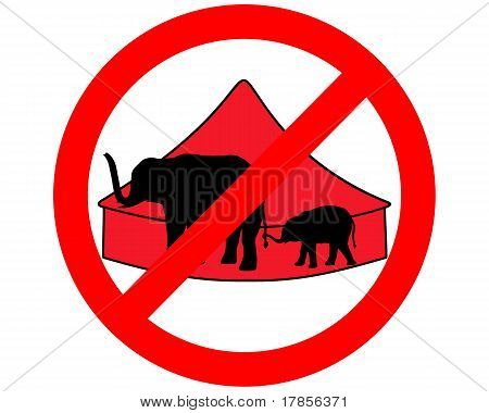 Detailed and colorful illustration of elephants in circus prohibited poster