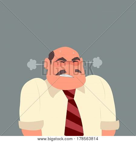 Illustration of an angry business man. Businessman stressful. Emoticon, emoji, facial expression. Flat style vector illustration.
