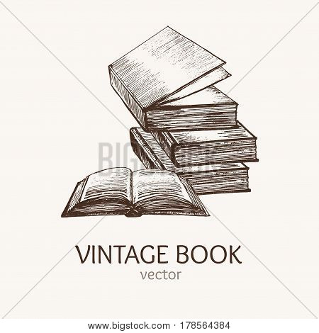 Book Stack Hand Draw Sketch Card Retro Style Symbol Knowledge. Vector illustration