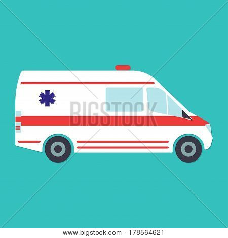 Ambulance icon. Ambulance car in flat style. Vector illustration.