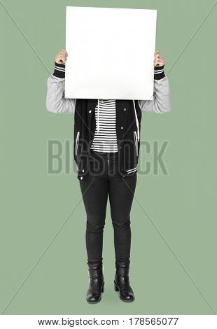 Person Standing and Holding empty Placard