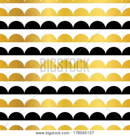 Vector Gold Black Stripes Scallops Stripes Seamless repeat Pattern Geometric Design. Great for nursery wallpaper, nautical invitations, fabric, abstract background. Surface pattern design.