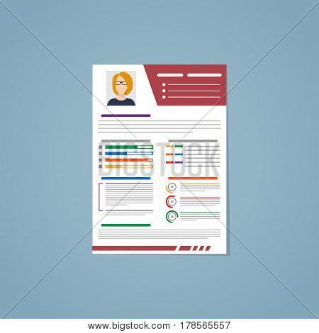 Blank resume for employment with photo and allocation in different colors with graphs and by segments. Flat style vector illustration.