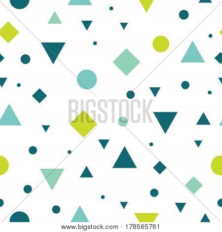 Vector Blue and Green Vintage Geometric Shapes Seamless Repeat Pattern Background. Perfect For Fabric, Packaging, Invitations, Wallpaper, Scrapbooking. Surface pattern design.