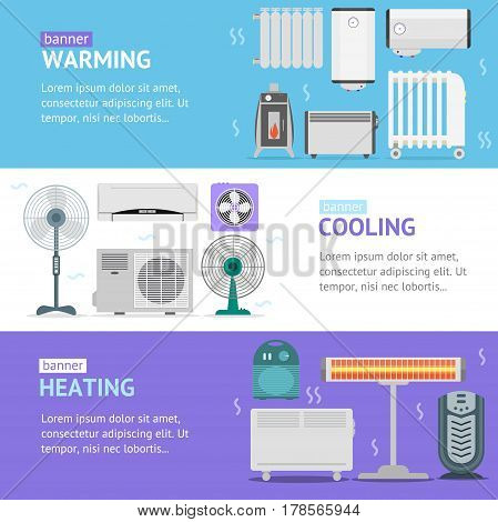 Heating, Cooling and Warming Devices Banner Card Horizontal Set Set for the House And Office. Vector illustration