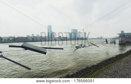 Rotterdam Netherlands - May 26 2016: Modern art along the embankment of the river Nieuwe Maas in Rotterdam