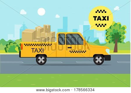 Taxi Service Moving Car and Cargo Cardboard Boxes on a Landscape Background. Vector illustration