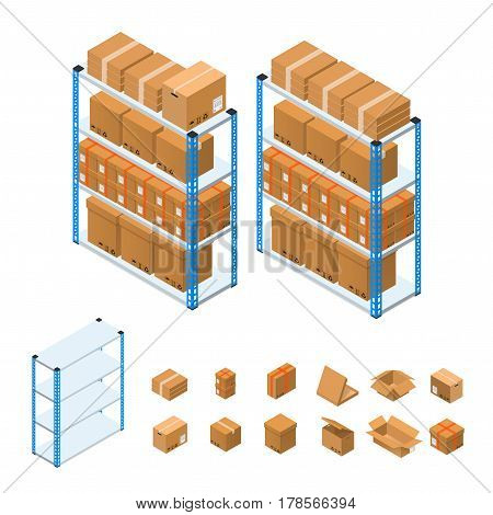 Warehouse Shelves Empty, Full and Cardboard Boxes Set Isometric View. Vector illustration