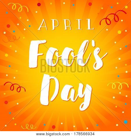 April Fools Day lettering card. April Fools Day vector text on abstract comic flash radial lines background