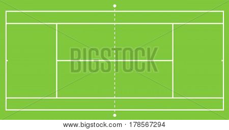 Tennis green grass court illustration. Top view, Vector illustration