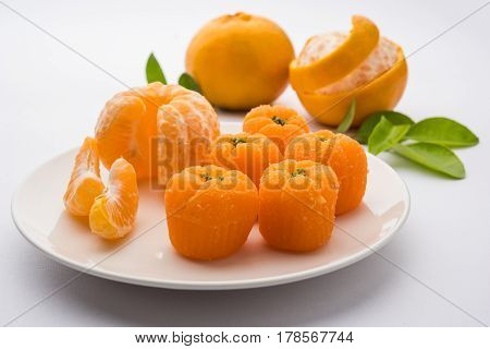 indian sweet food Orange Burfi or orange cake or santra burfi in hindi, favourite festival food from central india