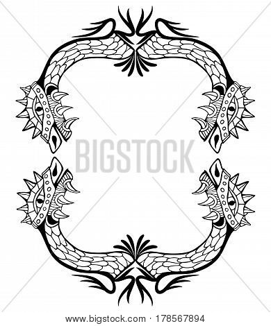 Dragon frame. Coloring book and tattoo. Vector illustration.