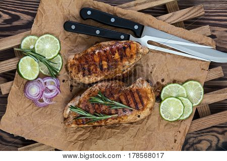 Grilled Chicken Filet With Herbs  On A Paper