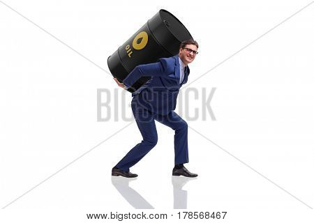 Businessman under the burden of oil barrel on white