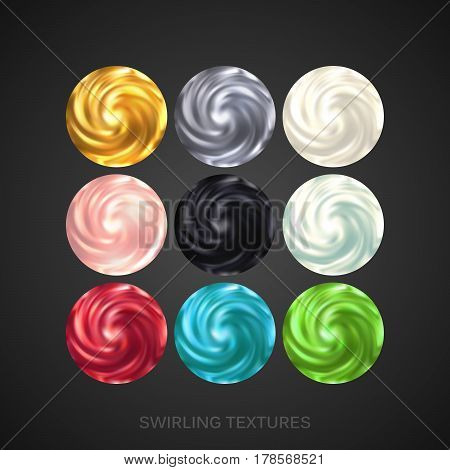 Creamy Swirling Patterns. Vector Illustration. Blending Whirlpool of Viscous Creamy Substance Set. Diffusion texture. Decorative Elements for Food or Cosmetics Design
