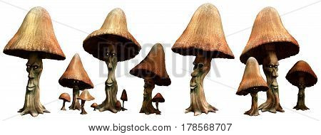 A group of mushroom folk 3D illustration
