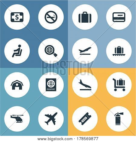 Vector Illustration Set Of Simple Airport Icons. Elements Currency , Handbag, Protection Tool Synonyms Plane, Airplane And Warning.