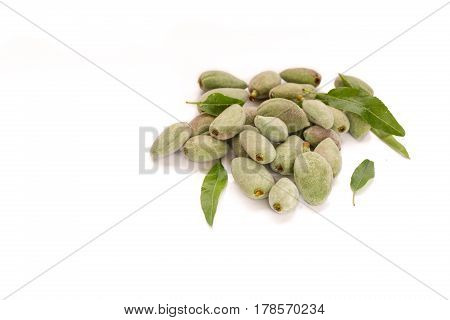Fresh unripe almonds on pure white background