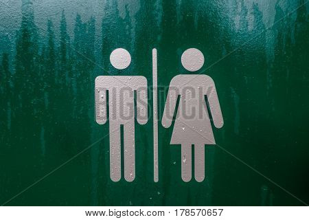Ladies, Gents Baby Changing Toilet Sign green with silver figures
