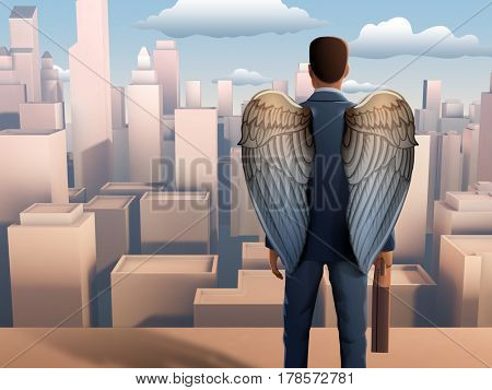 Winged businessman looking over a modern city. 3D illustration.