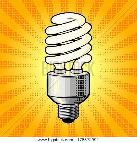 Fluorescent lamp comic book pop art retro style vector illustration